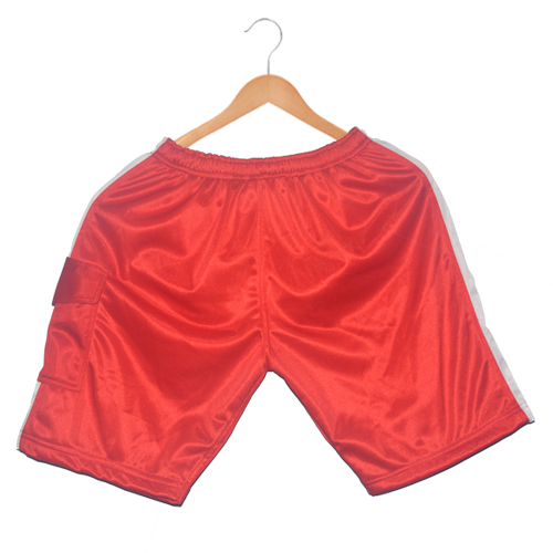 Polyester Men's sports shorts-Red  with White stripes